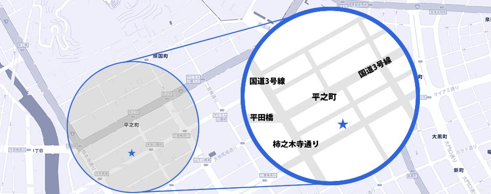 西千石平之町店地図詳細